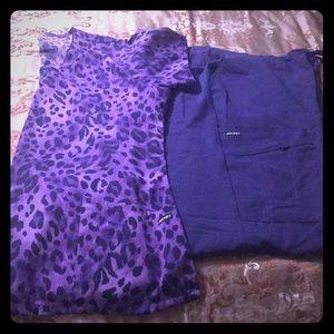 Leopard print scrub top with purple scrub pants